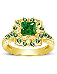 Atjewels Princess & Round Cut Green Emerald 14k Yellow Gold Over .925 Sterling Silver Engagement Ring Size 10...