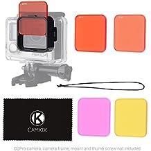 Juego de filtros para lentes CamKix para GoPro HERO 4 Black, Silver HERO+ HERO+ LCD, HERO and 3+ – Mejora los colores para diversos condiciones de videos Submarinos y Fotograficas - Incluye 5 Filtros de colores vivos, aumenta el contraste , la vision nocturna (Sólo encaja en los estándares de vivienda)