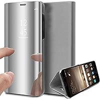 Oihxse Espejo Funda Compatible con Huawei Honor 20/Honor 20 Pro/Nova 5T Carcasa Ultra Slim Mirror Flip Translúcido View Tipo Libro Tapa Standing 360°Protectora PC + PU Cover Anti-Scratch Caso(Plata)