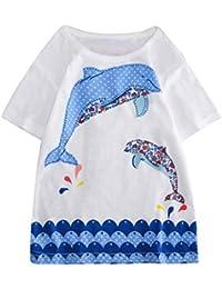 Mitlfuny Niños Camisetas de Manga Corta Verano Ropa Pascua Dibujos Animados Estampado Casual Camisas Cuello Redondo Blusas de Algodón para Bebé Niña Niño Rosa Blanco Tops 2-8 Años