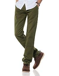 Demon&Hunter Hombre Corte Recto Verde Chino Pantalones DH9L06