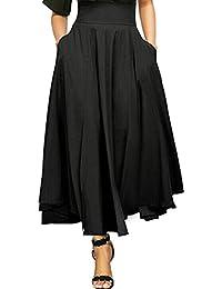Reaso Femmes Jupe Plissé Rétro Jupe Longue Elegant Robe Taille Haute  Vintage Fille Elastique A- b33e12b297b