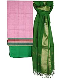 Weaves Of Tradition Green Maheshwari Handloom Dupatta With Pink South Cotton Top And Green Mul Mul Cotton Bottom...