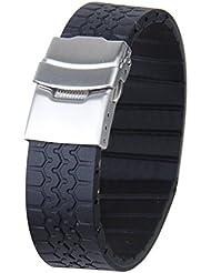 Correa De Reloj De Silicona A Prueba De Agua Correa Impermeable 20mm - Negro