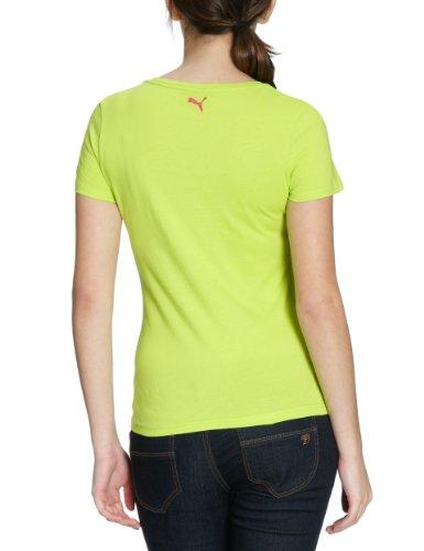 Puma T-shirt avec grand logo en coton biologique pour femme - Lime Punch/Raspberry Rose
