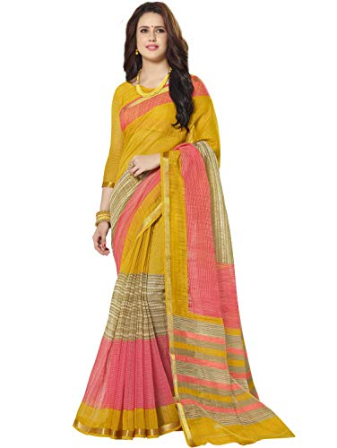 Miraan Printed Chanderi Cotton Saree With Zari Border for women with Blouse (N128)