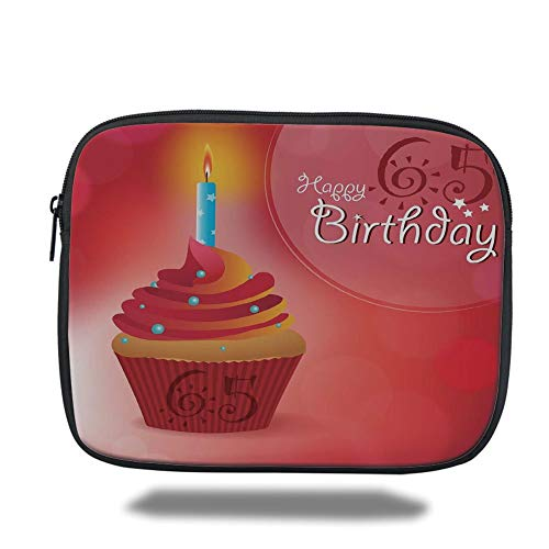 Tablet Bag for Ipad air 2/3/4/mini 9.7 inch,65th Birthday Decorations,Sixty Five Artistic Sun and Stars Figures Cupcake Candle,Red Orange Blue,Bag