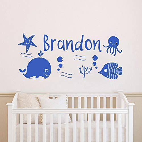 Yzybz Personalisierte Jungen Name Nautischen Sea Whale Fish Kindergarten Wandtattoo Meer Thema Wandaufkleber Für Kinderzimmer Dekor Kunst Wandbild