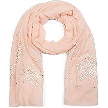 3186ce92a233 styleBREAKER Écharpe unie légère avec paillettes en forme d étoile des deux  côtés, foulard
