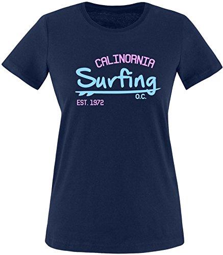 EZYshirt Surfing California Damen Rundhals T-Shirt Navy/Hellbl/Rosa