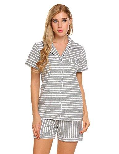 Ekouaer Damen Zweiteiliger Schlafanzug Kurzarm Streifen Pyjama Set Nachtwäsche Freizeitanzug Hausanzug mit Knopfleiste (Stück Damen 2 Pj)
