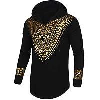 Pacinoble Mens African Dashiki Shirt Metallic Floral Printed Slim Fit Long Sleeve V Neck Shirts Blouse اسود Large