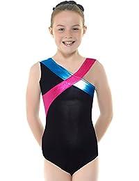 maboobie Justaucorps de Dance Ballet Uniforme Gymnastique Brillant brettelle sur une epaule sans manche 3-8 ans