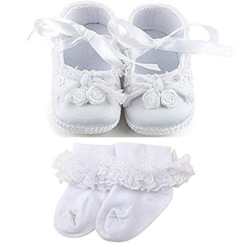 OOSAKU Baby Mädchen Schuhe Taufe Schnürsenkel Kleid Schuhe Ballett Tanz Hausschuhe Turnschuhe - Neugeborenen-kleid-schuhe