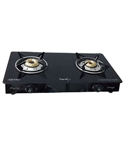 Pigeon Tango Glass-ceramic 2 Burner Gas Stove, Black