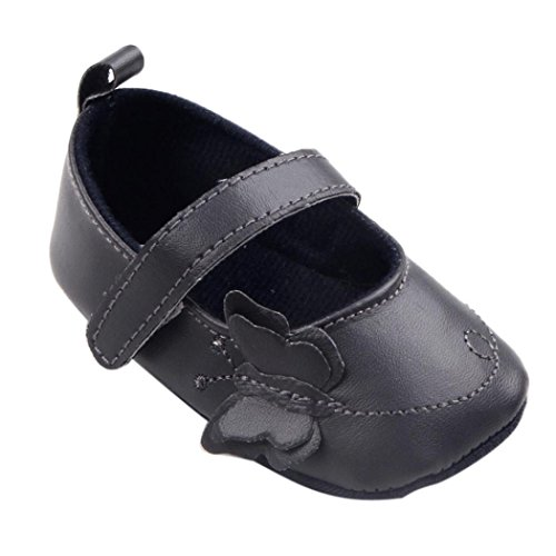 Ouneed® Krabbelschuhe , 0-18 Monate Infant Neugeborene Kleinkind Baby weiche Sohle Krippe Schuhe Schwarz