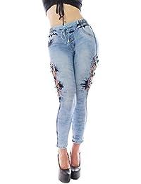 FARINA 1620 Pantalon vaquero de mujer, Push up/Levanta cola, pantalones elasticos colombian,color azul,talla 34-48/XS-3XL