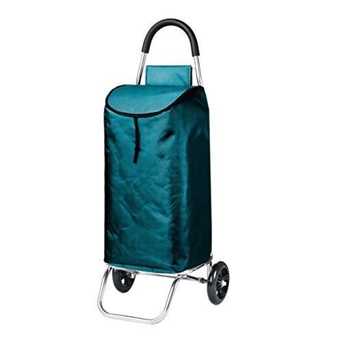 Leichte Aluminiumlegierung-Einkaufswagen-Laufkatze-Treppe, die faltenden Wagen 2 PU-zusammenklappbare Ziehwagen Oxford-Tuch-Einkaufstasche mit großer Kapazität 45L faltet (Farbe : Green)