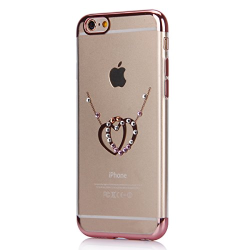 iPhone 6S Plus Hülle,iPhone 6 Plus Hülle,SainCat Glitzer Silikon Schutz HandyHülle für iPhone 6 Plus/6S Plus Silikon Hülle Gold Muster Tasche Handyhülle Bling Glänzend Glitzer Strass Kristall Diamant  Rose Gold-Dual-Liebe