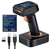 Tera 1D 2D QR Barcode-Scanner Kabellos mit Display, Ladestation, Verbindungen mit Bluetooth und 2,4 Ghz kabellos, 2200 mAh Akku Tragbarer Barcode-Scanner für Supermärkte, Lagerhäuser, Bibliotheken