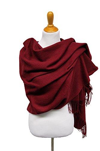 XXL Damen Schal Tuch Halstuch Poncho Wolle Kaschmir Pashmina super weich in verschiedenen Farben Größe 180cm x 72cm von DesiDo® (Burgund)