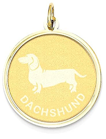 IceCarats 14k Yellow Gold Dachshund Disc Pendant Charm Necklace Animal Dog