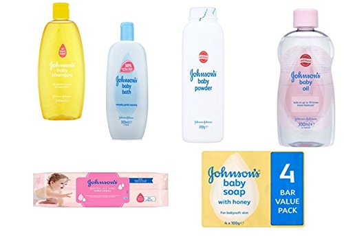 Johnson's Baby Care Set 6 Pieces includes Baby Shampoo Baby Oil Baby Powder Baby Bath 56 Baby Wipes & Pack of 4 Johnson's Baby Soap with Honey
