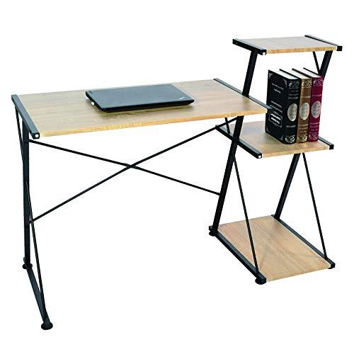 WOLTU® Schreibtisch TS60hei Computertisch Bürotisch Arbeitstisch PC Laptop Tisch, mit 3 Ablagen, Gestell aus Stahl, 118x50x86cm(BxTxH), Holz, Hell Eiche - 3 Regal Eiche Tisch