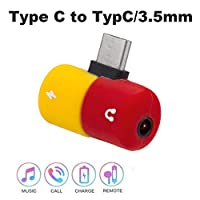 ‏‪Capsule Pill Shape Fast Charging type c to Earphone 3.5mm Audio Cable Charger Adapter Splitter For Samsung‬‏