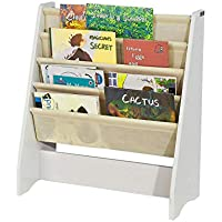 SoBuyFRG225-W,Librería infantil para niños con 4 estanterías, Estantería estándar infantil,blanco/beige,H71cm,ES