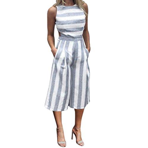 Frauen aus Schulter Overalls,Kingwo Damen ärmellosen gestreiften Overall Casual Clubwear Wide Bein Hosen Outfit Spielanzug Spielanzug (S, Blau) (Overalls Baumwolle Gestreiften)
