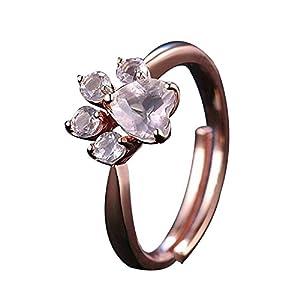 Impression 1PCS Ringe Ring von Fingerabdrücken Ring Diamant-Mode-Ring Schmuck-Girl Zubehör Valentinstag Geschenke aus Glas Hochzeit Ring offen Gold Rosa