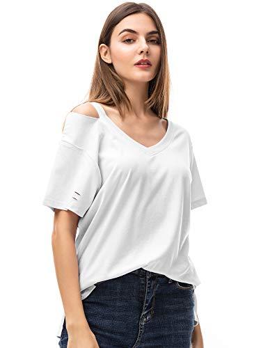MessBebe Blusas para Mujer Elegantes Camisetas Mujer Manga Corta Body Blanco Mujer Camisetas Verano Mujer Tops Mujer