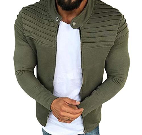CuteRose Mens Zip-Up Active Fleece Fitness PEA Coat Plus-Size Sweatshirts Army Green XL - Plus Size Peacoats