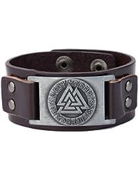 Wicca Religious Viking Valknut Norse Mythology 24 Amulet Rune Pattern Bangle Leather Bracelet