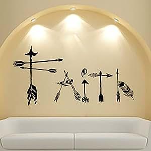 Dream Catcher acchiappasogni in piume Adesivo Boho adesivi murali per parure di letto Boemia (T53), Vinile, 48cmTall x 98cmWide