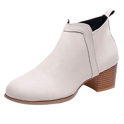 Ni_ka Damenmode Vintage Niedriger Absatz Starker Absatz Kurzer Stiefel Ankle Booties Stiefel Schuhe Warm Mujer Klassisch Beige EU:37.5 -