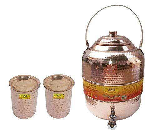 SHIV SHAKTI ARTS Pure Copper Handde Water Pot Tank with Tap With Handle 6500 ML with 2 Glass 300 ML With Lid each - Storage Serving Water Home Hotel Restaurant Good Health Benefit
