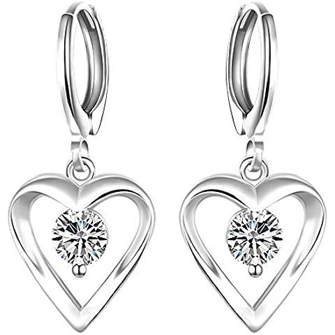 Pico Horizon Platinum Plating Diamond Studded Heart Dangle Pendientes para niñas