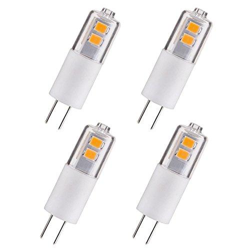 10w Ersatz (LED Lampe Birne G4 1.5 Watt, Ersatz für 10W Halogen-Lampe, warmweiß 3000k, 150lm, 6 SMD 2835 LEDs, 330° Abstrahlwinkel, AC/DC 12V, Nicht dimmbar, Energiesparende LED-Glühbirne, 4er-Pack (Klar))
