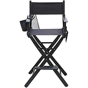 Delicieux Tinxs® Professional Black Lightweight Folding Makeup Chair Solid Wood  Artist Director Chair With W/Side Bags For Camping Fishing