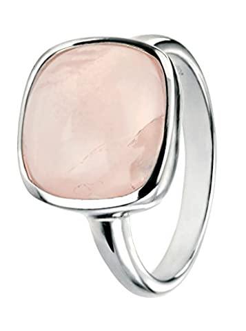 Elements Silver Sterling Silver Square Cabochon Rose Quartz Ring - Size O