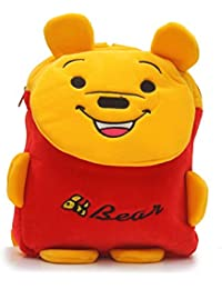 Shopigator Cute Bear Kids School Bag, Plush Bag, Picnic Bag, Children Bag ( Red, Yellow )