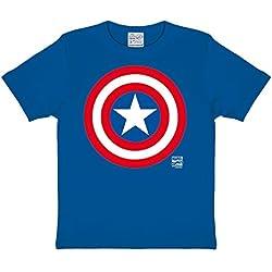 Capitán América Shield niños T-Shirt marca calidad azul algodón, Infantil, azul