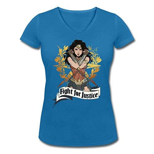 Warner Bros Wonder Woman Fight For Justice T-shirt col V Femme de Spreadshirt® bleu paon