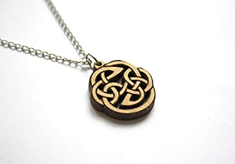 Wooden celtic pendant necklace, for man or woman jewel, wood rond interlace shape, circular looped motifs, braided and
