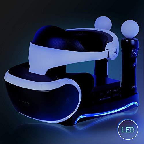 ZRMVV Stand PSVR Supporto per Occhiali VR Playstation 4 con LED Luce Ambientale e unità processore (CUH-ZVR2), Dual PSVR Move Controller PS4 Dock di Ricarica