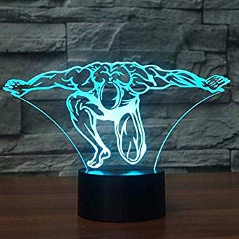 3D Fitness - trainer Optische Illusions-Lampen, Tolle 7 Farbwechsel Acryl berühren Tabelle Schreibtisch-Nachtlicht mit USB-Kabel für Kinder Schlafzimmer Geburtstagsgeschenke Geschenk