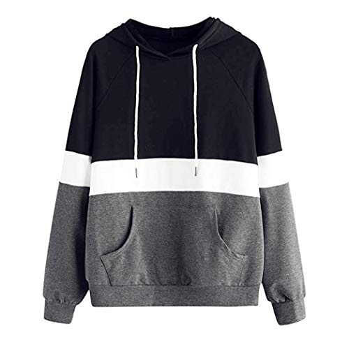 Coupon Matrix - Women's Long Sleeve Hoodie Pullover Striped Crop Top Sweatshirt Womens Fashion Hooded Tops Blouse Classic Stripe Women Color Block t Shirt Autumn Winter Casual New Home Clothes(Gray ,M)