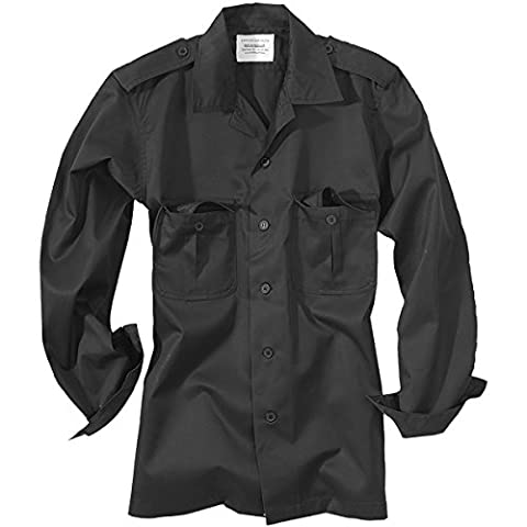 Security Army Long-Sleeved Mens Work Shirt Black